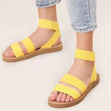 Open Toe Double Band Elastic Ankle Strap Sandals