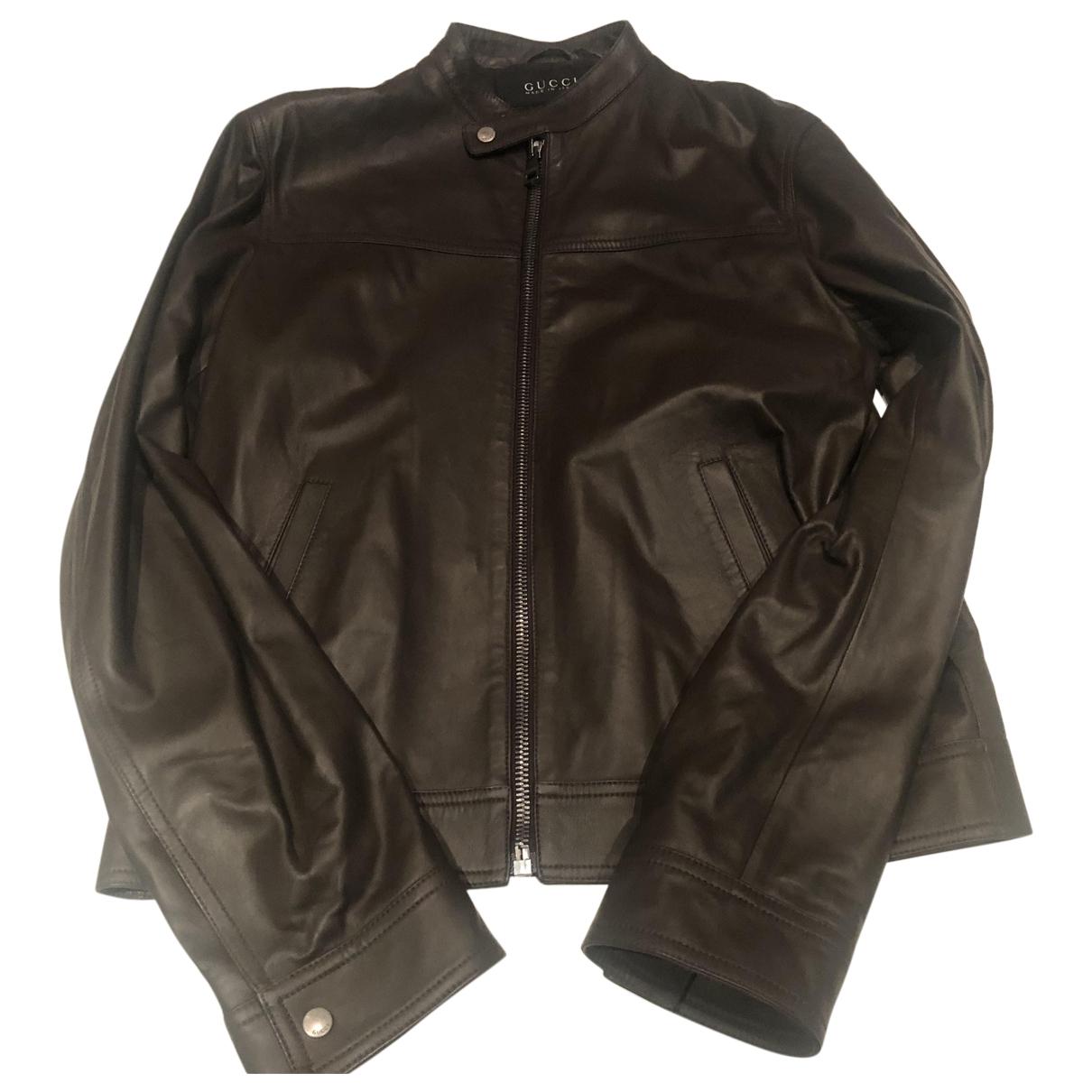 Gucci - Vestes.Blousons   pour homme en cuir - marron