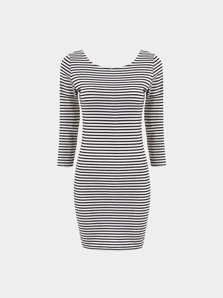 Yoins Striped Long-sleeved Sexy Package Hip Mini Dress
