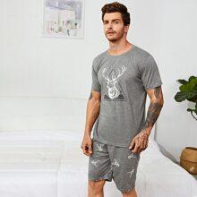 Men Reindeer Print Pajama Set