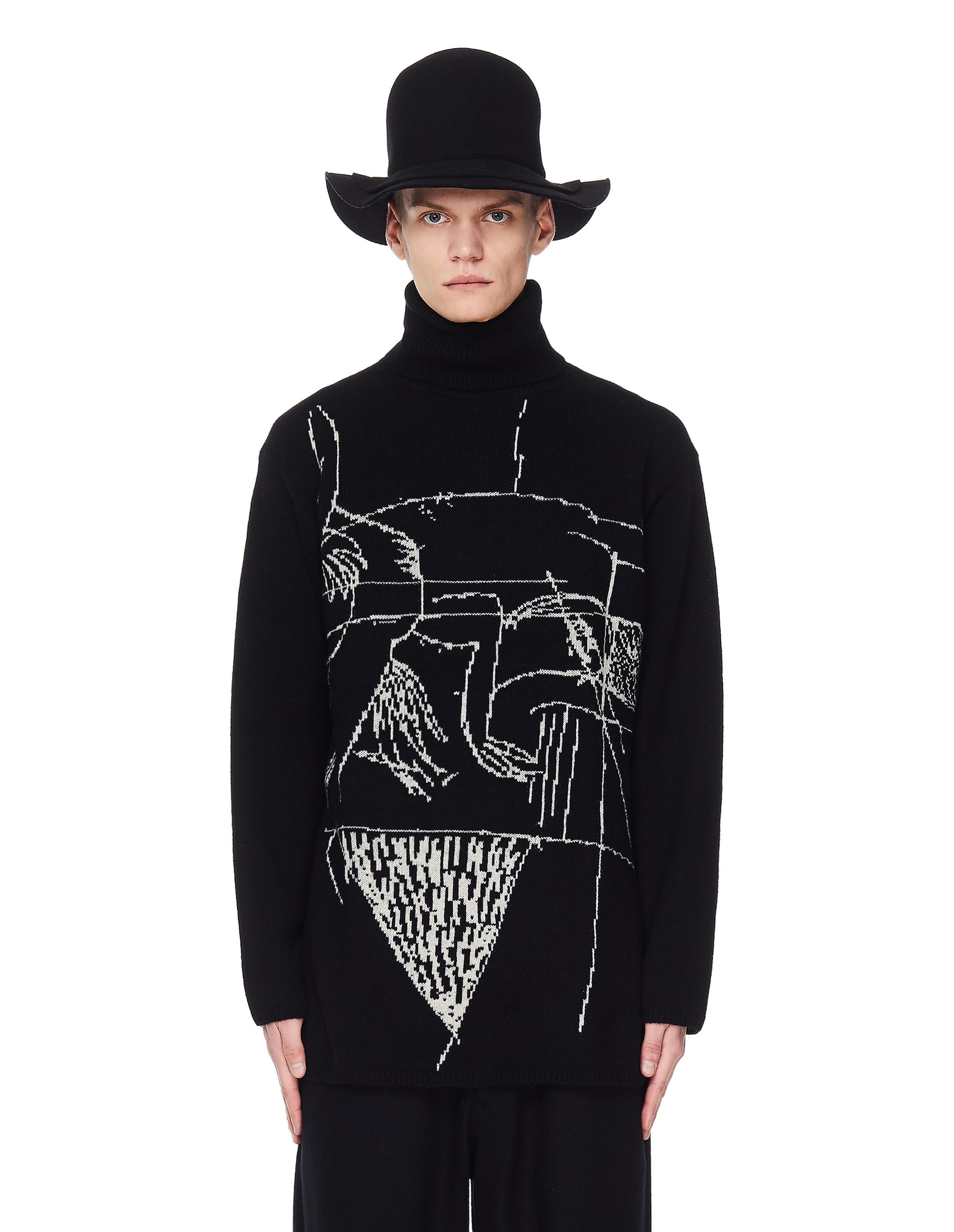 Yohji Yamamoto Wool Sweater With Abstraction