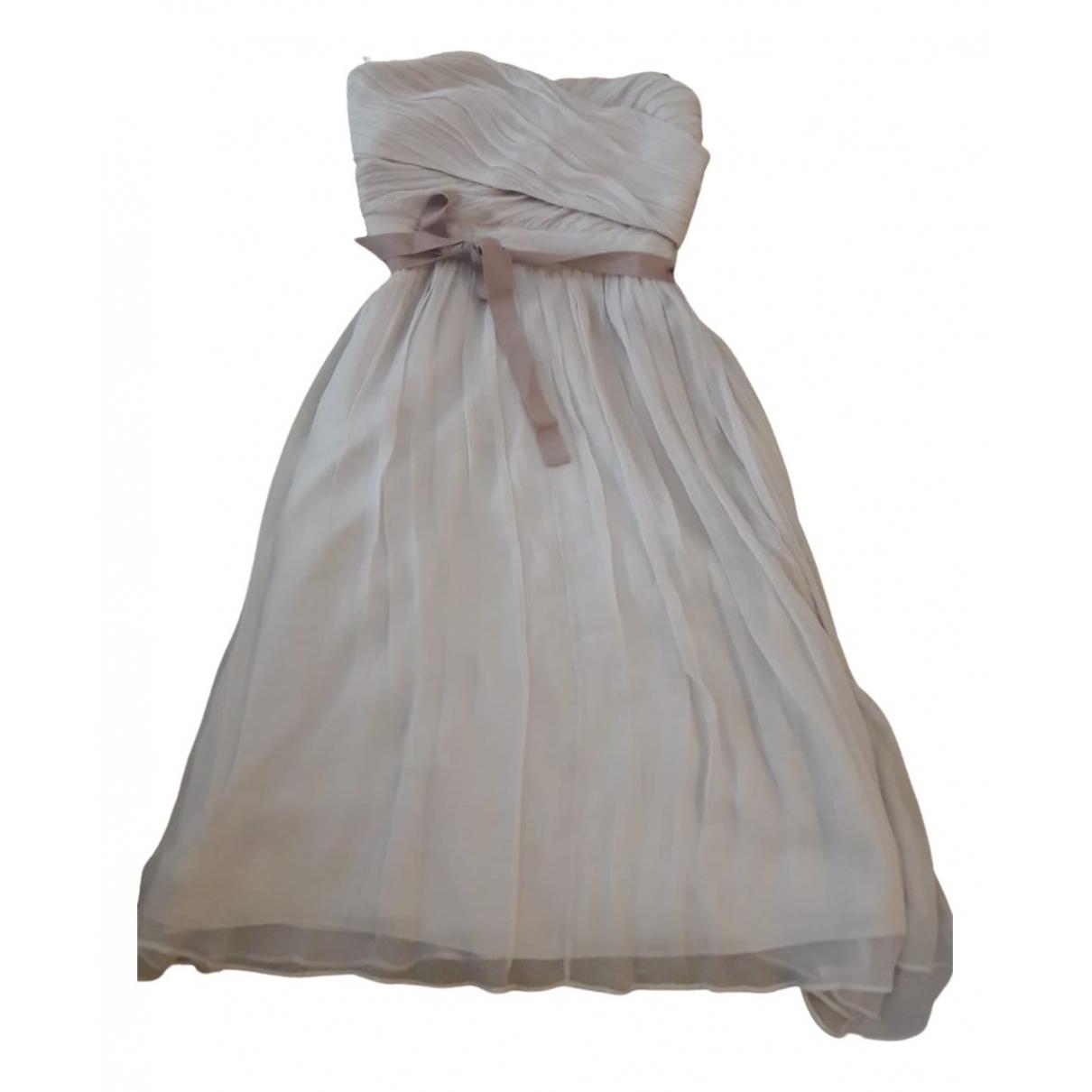 Massimo Dutti \N Kleid in  Beige Seide