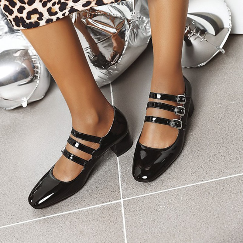Ericdress Closed Toe Buckle Chunky Heel Low-Cut Upper Thin Shoes