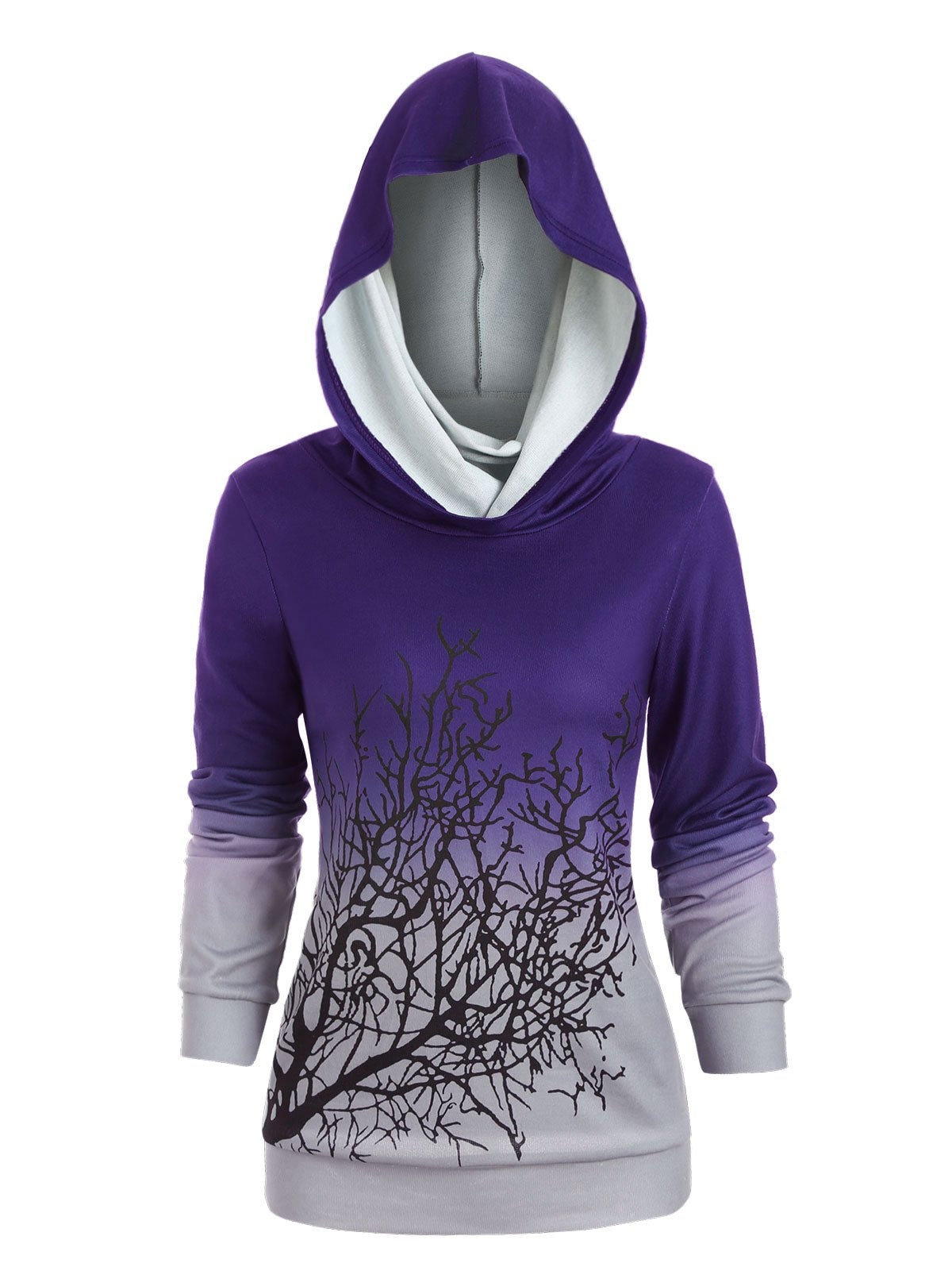 Halloween Convertible Collar Tree Print Sweatshirt