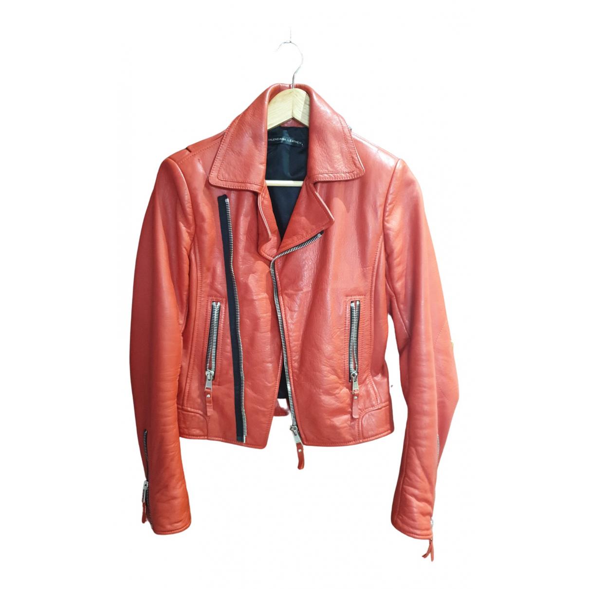 Balenciaga - Blouson   pour femme en cuir - rouge
