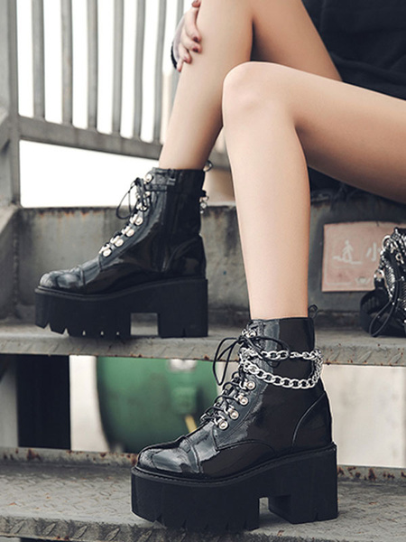 Milanoo Women Ankle Boots Black PU Leather Round Toe Chains Flatform Short Boots