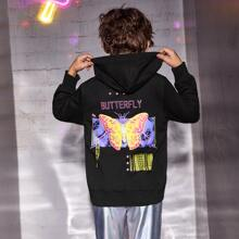 Boys Letter and Butterfly Print Hoodie