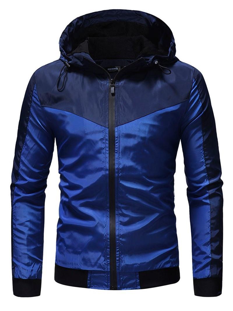 Ericdress Color Block Hooded Thick Zipper Casual Men's Jacket