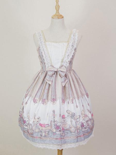 Milanoo Classic Lolita JSK Dress Lace Trim Bow Pleated Black Lolita Jumper Skirt