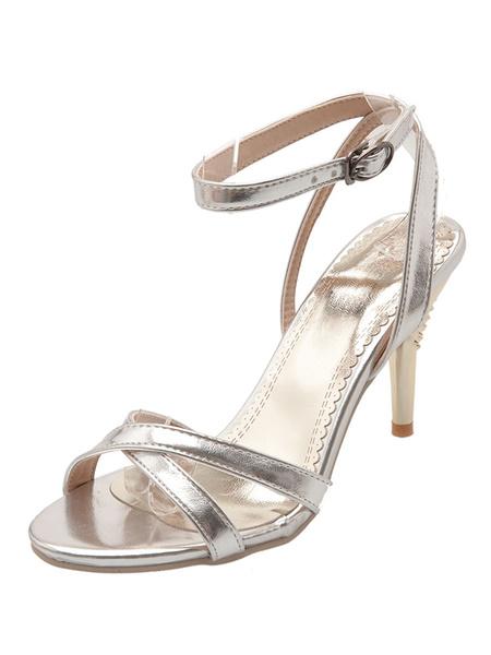 Milanoo High Heel Sandals Womens Open Toe Ankle Strap Slingback Sandals Stiletto Heels Dress Shoes