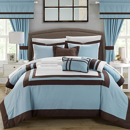 Chic Home Ritz 20-pc. Midweight Embroidered Comforter Set, One Size , Blue