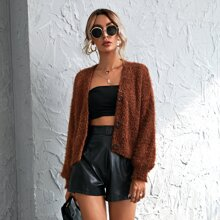 Button Front Fuzzy Cardigan