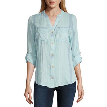 a.n.a Womens Long Sleeve Regular Fit Button-Down Shirt, X-small , Blue