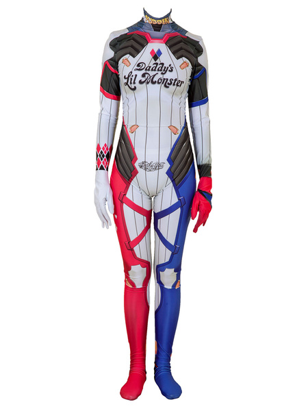 Milanoo Suicide Squad Cosplay Harley Quinn Red Lycra Spandex Leotard DC Comics Cosplay Costume