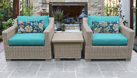 Coast Collection COAST-03a-ARUBA 3-Piece Patio Wicker Set with 1 End Table and 2 Club Chairs - Beige and Aruba