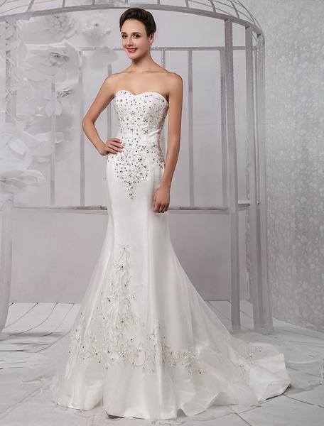 Milanoo Trumpet/Mermaid Sweetheart Chapel Train Satin Organza Wedding Dress With Embroidered Beading