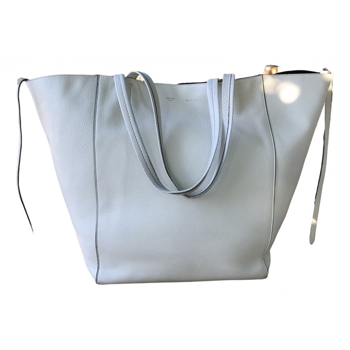 Celine Luggage Phantom Handtasche in  Weiss Leder