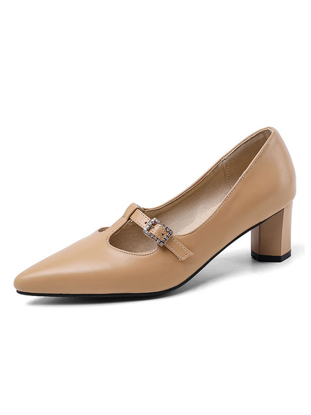 Milanoo Women Block Heels Black Pointed Toe T Type Slip On Pumps