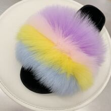 Stripe Fluffy Slippers