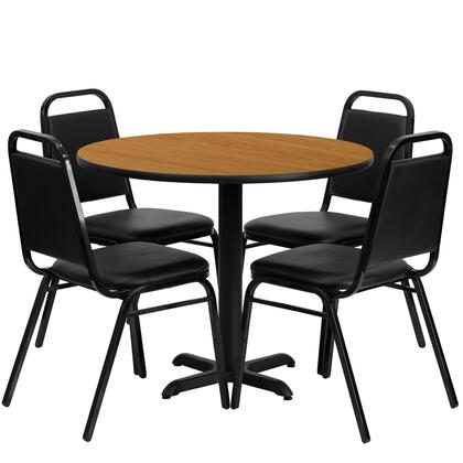 HDBF1003-GG 5 Piece Dining Set with 4 Trapezoid Back Banquet Chairs  Black T-Mold Edge  X-Base  Black Powder Coated Cast Iron Construction  Black