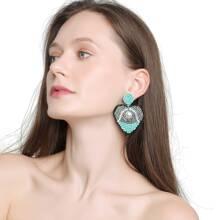 Beaded Heart Drop Earrings