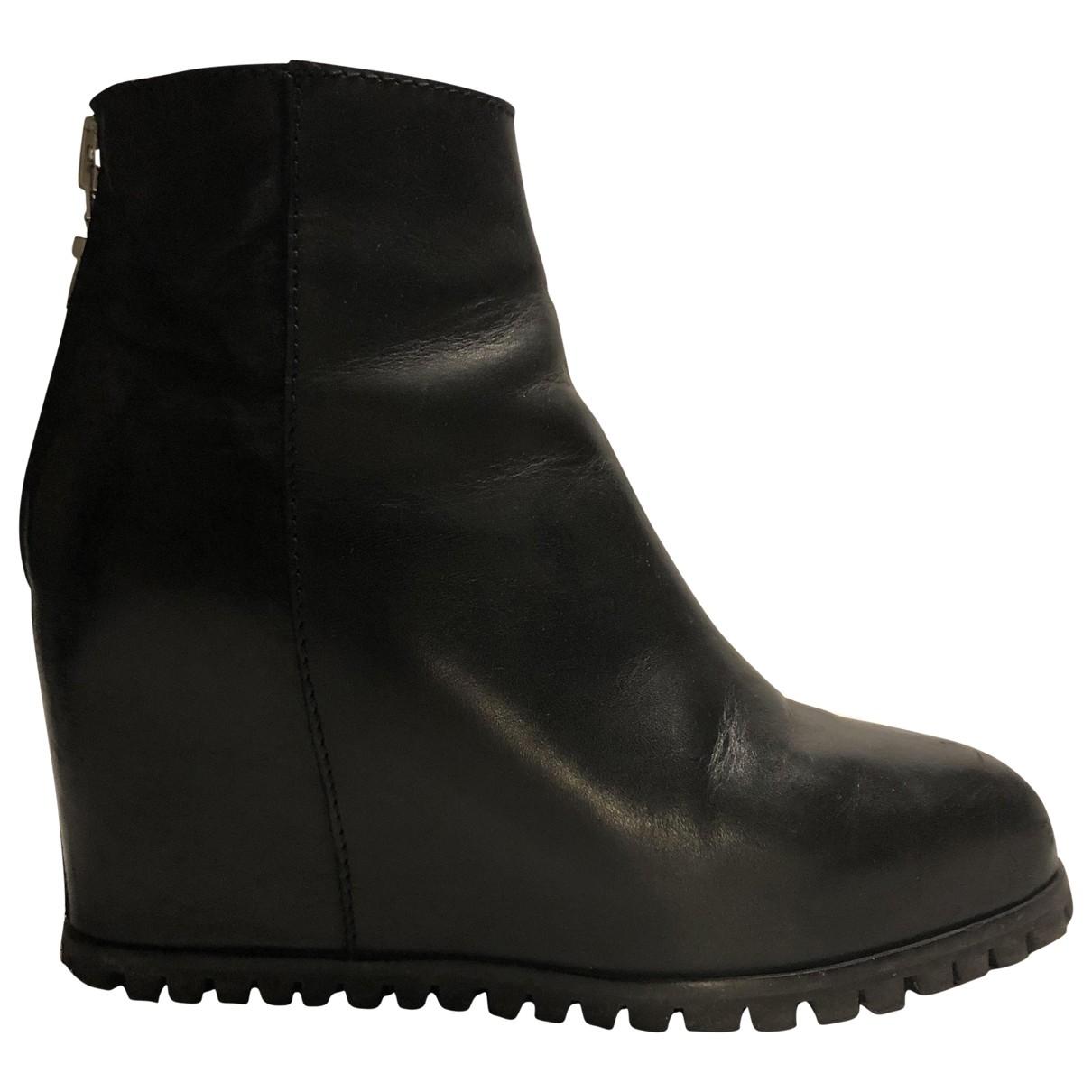Minimarket - Boots   pour femme en cuir - noir