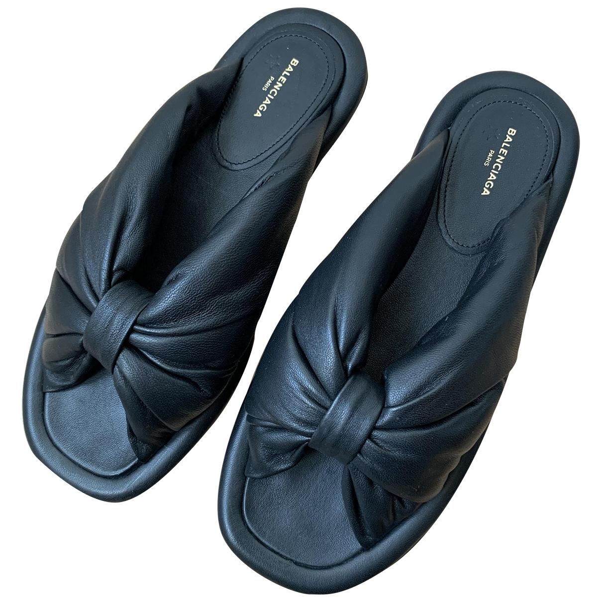 Balenciaga \N Black Leather Sandals for Women 36 EU