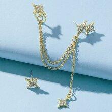 2pcs Rhinestone Star Earrings