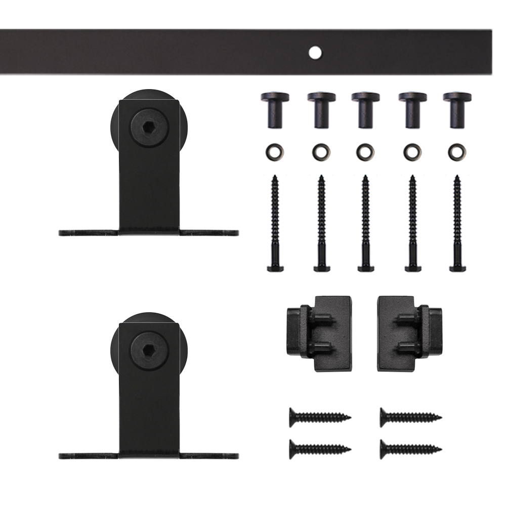 Black Top Mount Rolling Single Furniture Door Kit with 6-ft. Rail