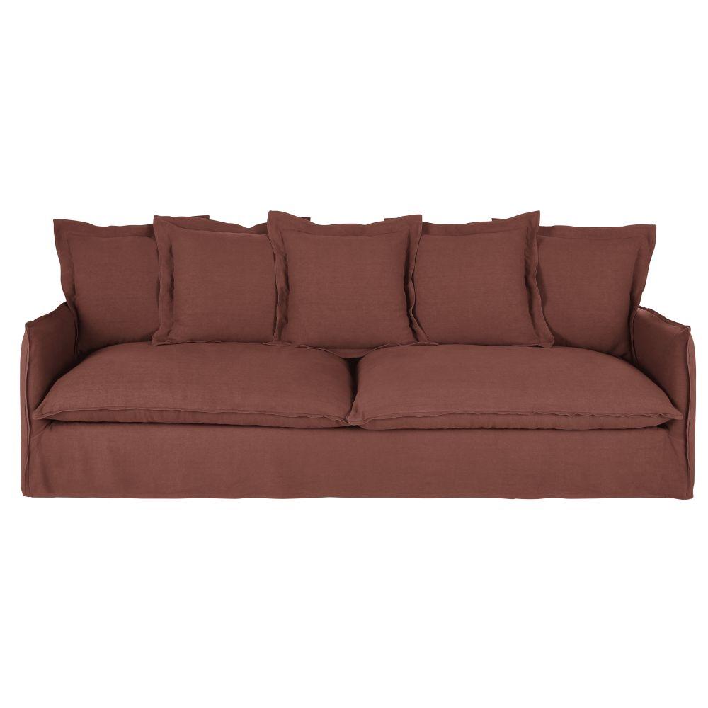 5-Sitzer-Sofa mit dickem rhabarberrotem Leinenbezug Barcelone