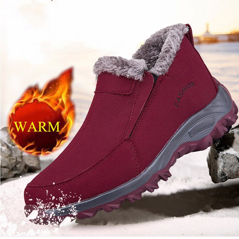 Women Suede Stitching Slip On Outdoor Non Slip Flat Casual Boots