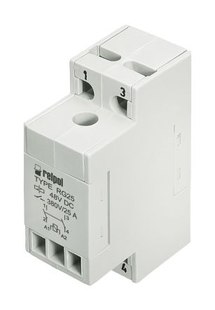 Relpol DPST DIN Rail Non-Latching Relay - 25 A, 253V ac For Use In Automation, Catering, Control with Single Phase