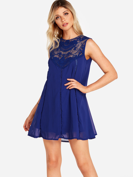 Yoins Blue Lace Insert Crew Neck Sleeveless Dress