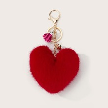 Fluffy Heart Design Bag Charm