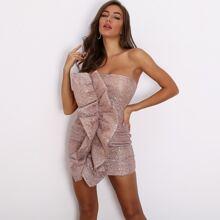 Exaggerated Ruffle Sequin Mini Bodycon Tube Dress