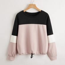 Pullover mit sehr tief angesetzter Schulterpartie, Farbblock und Kordelzug am Saum