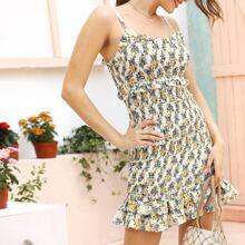 Slip Kleid mit Rueschenbesatz und Blumen Muster