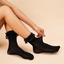 1pair Lace Ruffle Trim Socks