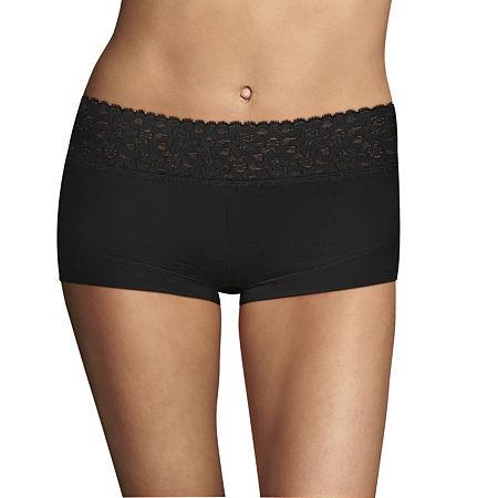 Maidenform Dream Cotton Knit Boyshort Panty 40859, 6 , Black