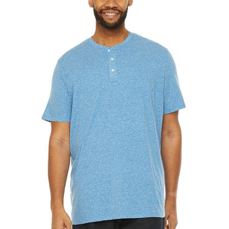 The Foundry Big & Tall Supply Co.-Big Mens Short Sleeve Henley Shirt, X-large Tall , Blue