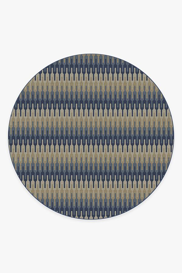 Washable Rug Cover | Retro Danish Blue Rug | Stain-Resistant | Ruggable | 8 Round