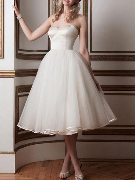 Milanoo Vintage Wedding Dresses 2020 Sweetheart Neck Sleeveless A Line Tea Length Bridal Dresses