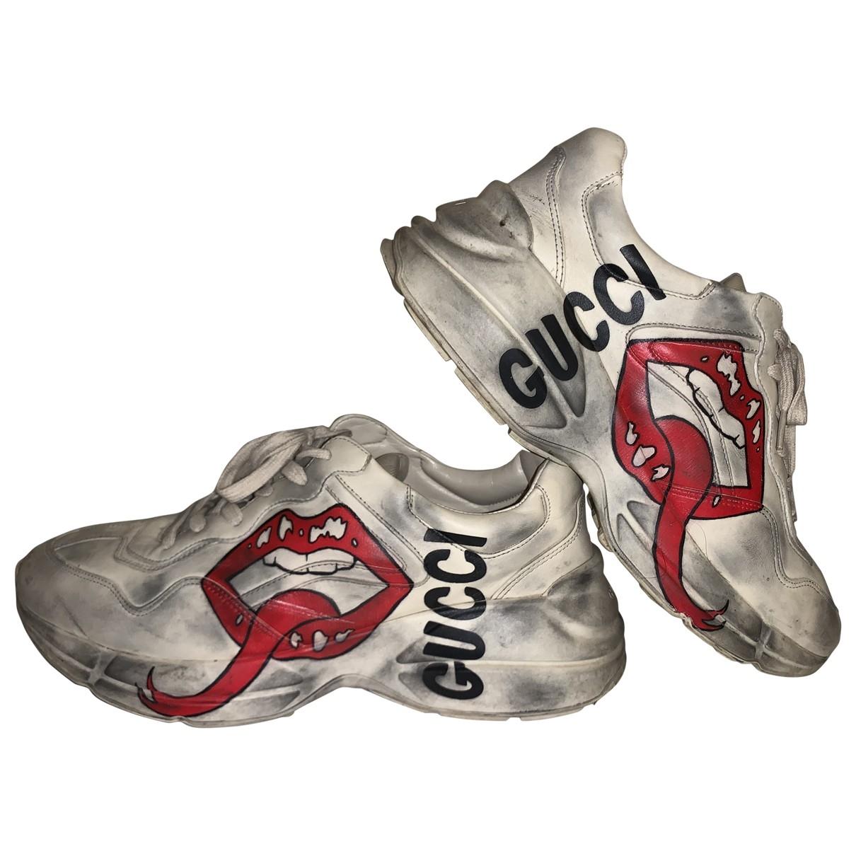 Gucci Rhyton Ecru Leather Trainers for Men 44 EU