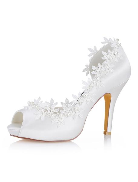 Milanoo Ivory Wedding Shoes Silk Peep Toe Lace Detail Bridal Shoes Women High Heels