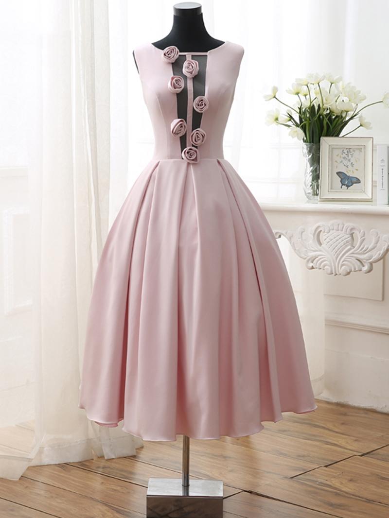 Ericdress A-Line Flowers Tea-Length Open Back Prom Dress