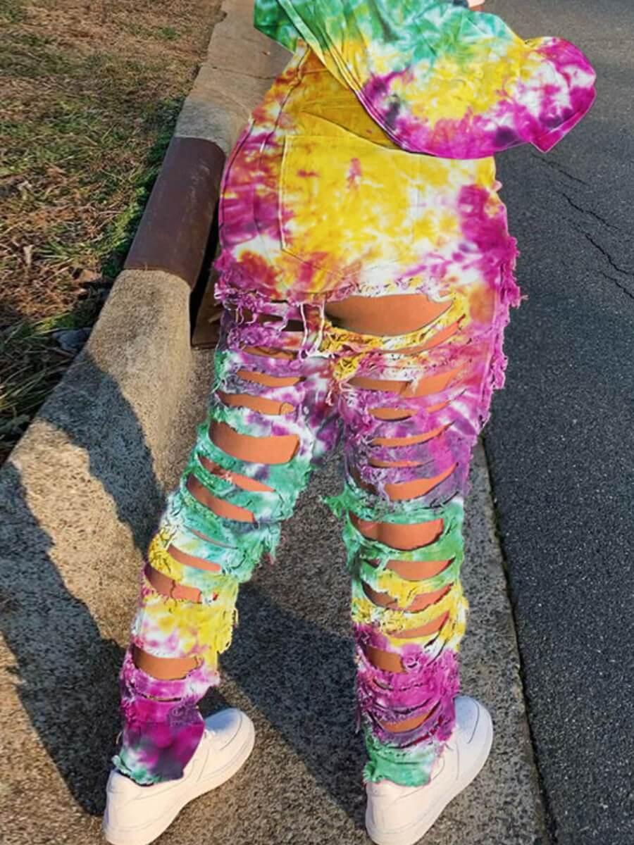 LW Lovely Street Broken Holes Tie-dye Yellow Jeans
