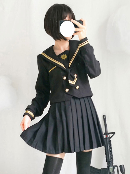 Milanoo Sailor Style Lolita Outfit Musketeer Black Button Long Sleeve Top With Pleated Skirt
