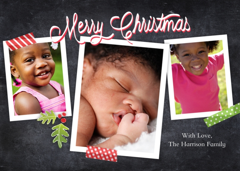 Christmas Photo Cards Flat Matte Photo Paper Cards with Envelopes, 5x7, Card & Stationery -Christmas Collage Tape