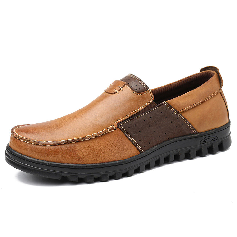 Menico Men Comfy Moccasin Toe Leather Splicing Soft Casual Shoes