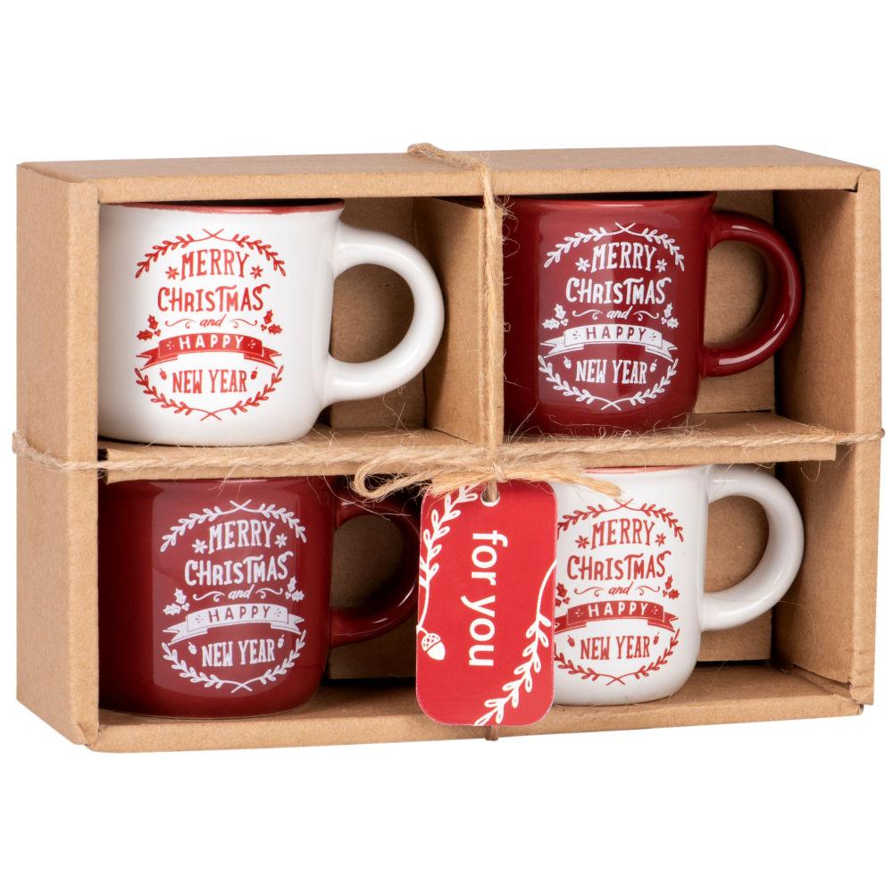 Set mit 4 Tassen aus Steinzeug, weiss und rot